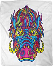 rouihot 60x80 Inches Flannel Throw Blanket Aggressive Face of Warthog in Line Coloring Book Page Home Decorative Warm Cozy Soft Blanket for Couch Sofa Bed
