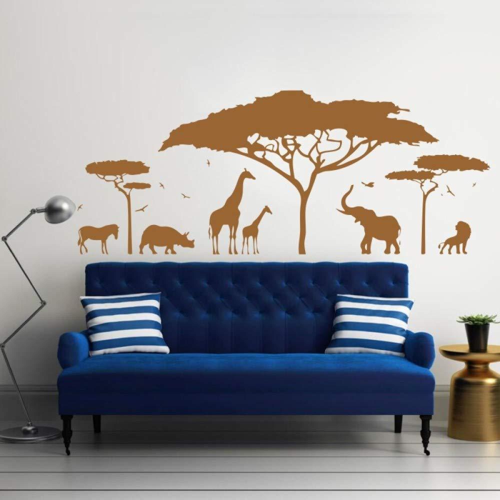 Safari africano Tatuajes de Pared de Vinilo Etiqueta de Arte Zoo Naturaleza Jirafa vivero Elefante Extraíble Wallpaper Decoración de Dormitorio DIY niño 142 * 57 cm: Amazon.es: Bricolaje y herramientas