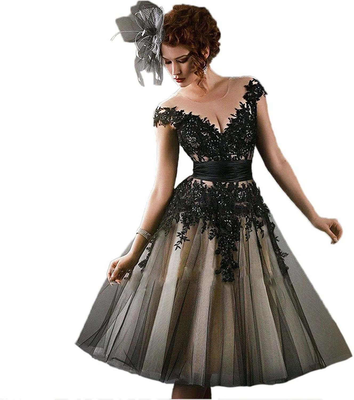 Ikerenwedding Women's OffShoulder Sheer Lace Tea Length Prom Dress with Belt