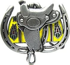 MASOP Western Cowboy Big Horse Saddle Horseshoe Heavy Metal Belt Buckle for Men