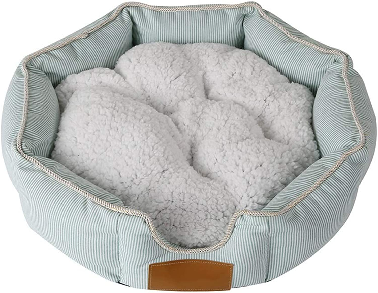 Pet bed Octagon Cat Dog Mat Moisture proof Puppy Cushion Oxford Cloth With Removable Cushion Winter (Size   60  14cm)