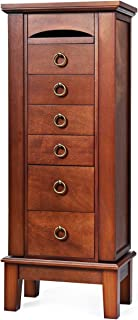 "Giantex Wood Jewelry Cabinet Armoire Storage Box Chest Stand Organizer Necklace, MDF+Glass, Walnut, 10.5(D)"" X15.8""(W) X40""(H)"