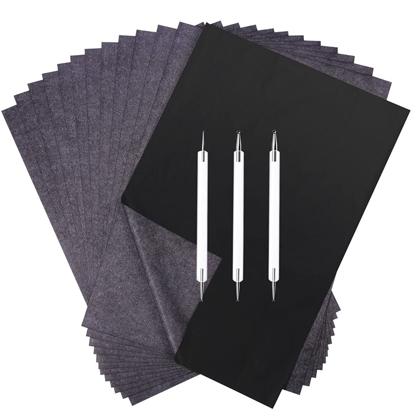 Selizo 100 Sheets Carbon Transfer Paper with Embossing Stylus Set for Wood Tacing Copy
