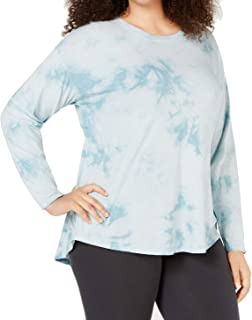 Calvin Klein Women's Top Blue 2X Plus Activewear Long Sleeve Tie-Dyed