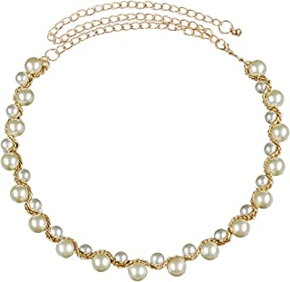 Generic White Golden Metal and Pearl Belly Chain for Women