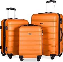 Merax 3 Pcs Luggage Set Expandable Hardside Lightweight Spinner Suitcase with TSA Lock [Upgraded Version] (Orange)