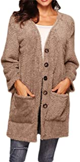 Macondoo Womens Button Fluffy Pullover Coat Pocket Top Chic Absorb Sweat Overcoat Warm Woolen Baggy Cardigans