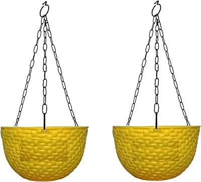 Pankaj Nursery Round Hanging Pot Coral Plastic Yellow Color with Metal Chain Black - Pack of 2