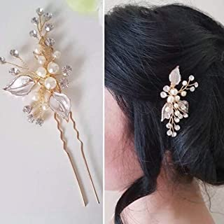 YERTTER Bride Gold,Silver,Rose gold Leaves Flower Rhinestons Hair Pins Flower Wedding Hair Pins Clips Rhinestone Bridal Ha...
