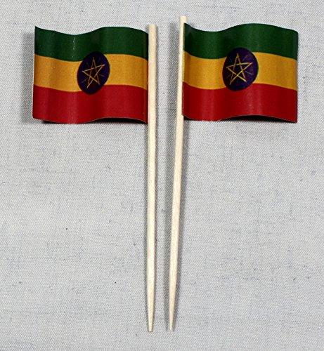 Buddel-Bini Party-Picker Flagge Äthiopien Papierfähnchen in Profiqualität 50 Stück 8 cm Offsetdruck Riesenauswahl aus eigener Herstellung