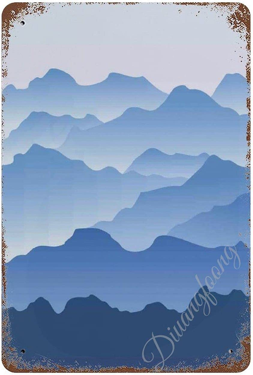 Diuangfoong Nature Theme A Panoramic Silhouette of The Mountains in The Morning Illustration Print Metal Tin Sign, Vintage Art Poster Plaque Home Wall Decor 20cm x 30cm