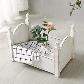 Toddler Bed & Baby cot for Photography Props, Contemporary Design Toddler & Kids Bed - Sturdy Wooden Frame for Extra Safety