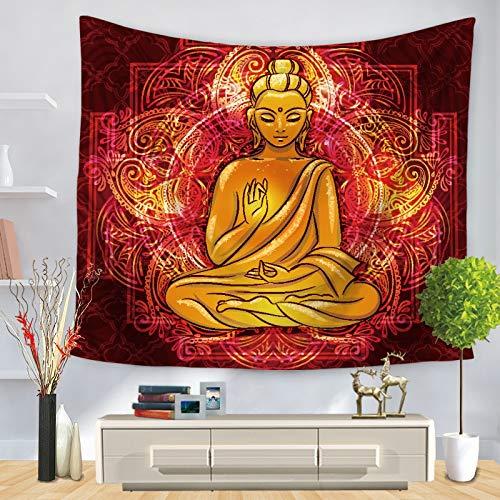 KHKJ Tapiz de Estatua de Buda Indio para Colgar en la Pared, tapices de Tela para Pared, Alfombra de Yoga psicodélica, decoración del hogar A8, 200 cm x 150 cm