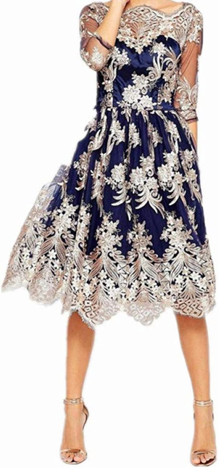 QWERTY Dress Autumn Vintage Floral Embroidery Dress for Women Lace Ball Gown