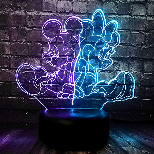 Jinlycoo Mickey Minnie Mouse Lamp LED Night Light for Boy Bedroom USB Touch Remote Change Lava Cartoon Mix 7 Color Atmosphere Baby Sleep Lighting Child Fans Birthday Kids Xmas Toy Gift Activity Prize