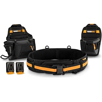 ToughBuilt - Handyman Tool Belt Set - Includes 2 Pouches, Padded Belt, Heavy Duty, Deluxe Organizer Premium Quality - 10 Pockets, Hammer Loop, 2 Patented ClipTech Hubs - (3 Piece) (TB-CT-111C)