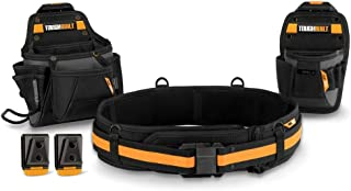 ToughBuilt - Handyman Tool Belt Set - 3 Piece, Includes 2 Pouches, Padded Belt, Heavy Duty, Deluxe Organizer Premium Quality - 10 Pockets, Hammer Loop, 2 Patented ClipTech Hubs (TB-CT-111C)