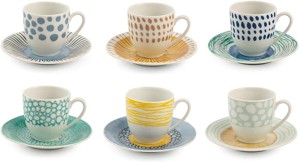 Villa d'este home tivoli marea , set di 6 tazzine  da caffè ,con piattino , in porcellana 5907159