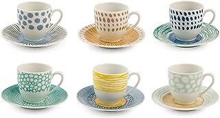 Villa d'Este Home Tivoli, Marea Lot de 6 tasses à café avec soucoupe en porcelaine