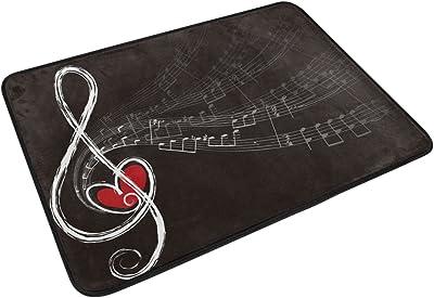 JSTEL Nonslip Door Mat Home Decor, Hipster Music Note with Love Durable Indoor Outdoor Entrance Doormat 23.6 X 15.7 Inches