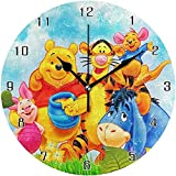 Cartoon Anime Winnie The Pooh World Round Wall Clock Home Decor Clock Battery Operated Silent Non -Ticking Desk Clock For Home,Office,School