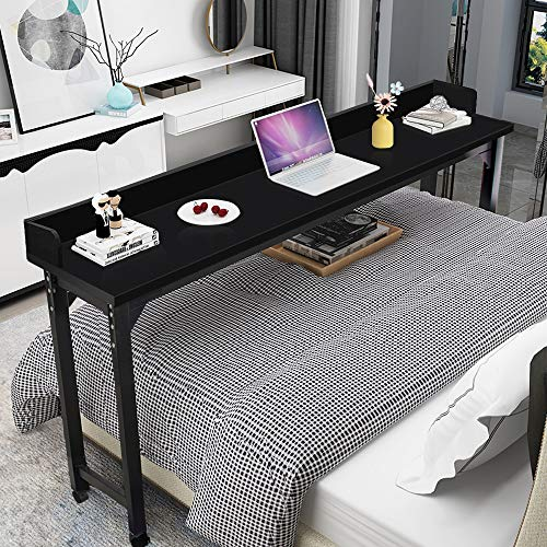 Overbed Table Laptop Desk  Bizzoelife 71 Inches Mobile Computer Desk Rolling Laptop Cart Heavy Duty Metal Leg with Wheels for Bed Sofa (Black)