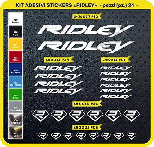 Ridley Kit Fahrräder Selbstklebende Aufkleber Aufkleber 24?SCEGLI erlitten colore- Bike Cycle PEGATINA Cod. 0107 - Bianco cod. 010