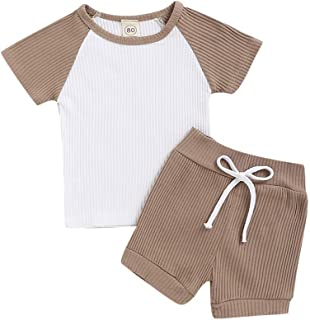 Weixinbuy Baby Boys Girls Short Sleeve Crewneck Cotton Tops T-Shirt with Elastic Waist Shorts 2 Pcs Clothes Set
