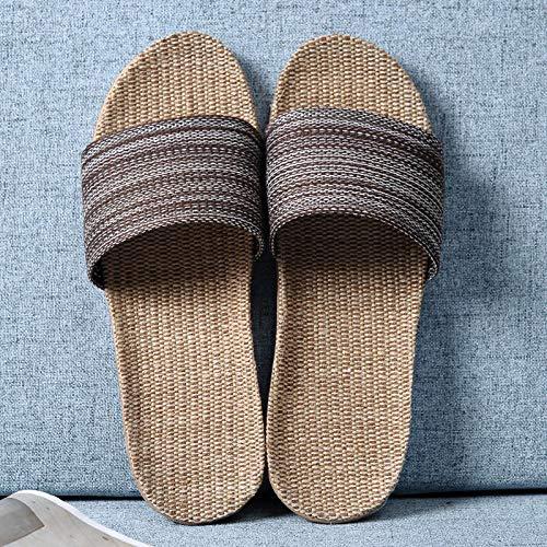 B/H Zapatillas de Estilo para el hogar,Par de Zapatillas Antideslizantes de Fondo Grueso, Zapatillas de casa de algodón y Lino-Coffee_UK6.5-UK7,Sandalias de Piso Casuales Antideslizantes