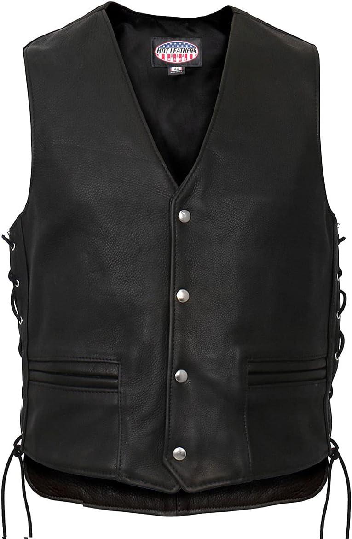 Hot Leathers VSM5003 Men's USA Made Extra Long Back Premium Steerhide Leather Vest - 3X-Large