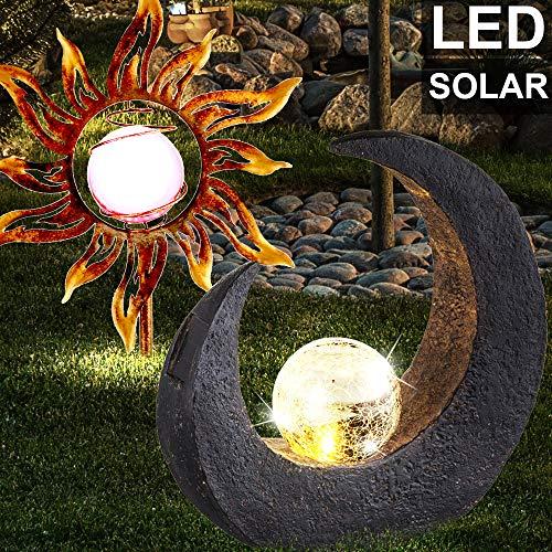 2er Set LED Solar Steck Lampen Sonne Mond Design Garten Weg Leuchten rost Außen Beleuchtung