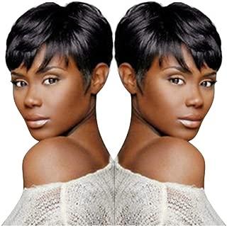 Black Human Hair pixie Cut Straight Short Bangs Brazilian Lace Wigs Women (a)