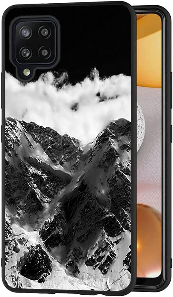 Esakycn for Galaxy A42 5G Case, Phone Case Silicone Black with Rose Pattern Design Ultra Slim Shockproof Soft TPU Girls Women Protective Cover Skin for Samsung Galaxy A42 5G 6.6 inch. Mountain