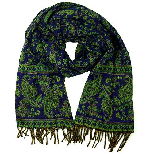 Guru-Shop Weicher Pashmina Schal/Stola mit Paisley Muster, Herren/Damen, Blau/grün, Synthetisch, Size:One Size, 200x100 cm, Schals Alternative Bekleidung