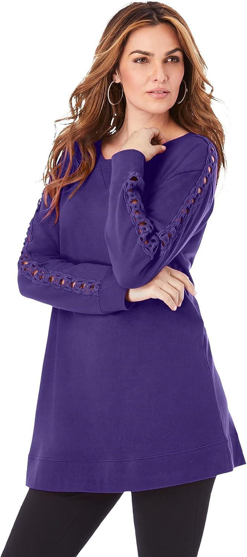 Roaman's Women's Plus Size Crochet Sleeve Sweatshirt Tunic