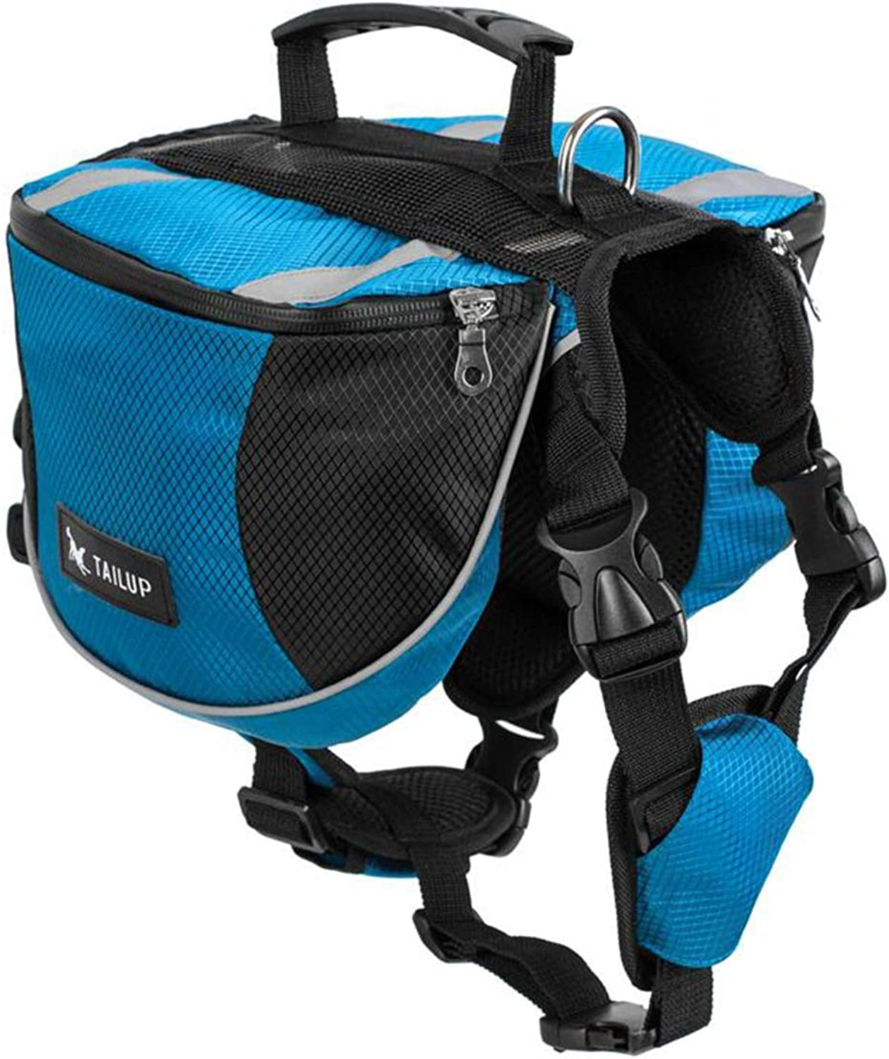 PETFDH Luxury Pet Outdoor Backpack Large Dog Adjustable Saddle Bag Harness Carrier for Traveling Hiking Camping Gorgeous bluee M
