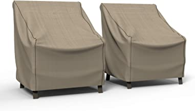 Budge P1W01PM1-2PK Cover for Outdoor Patio Chairs Medium (2 PK), (2-Pack), Tan Tweed