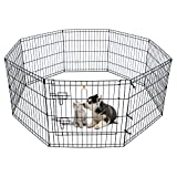 Dog Pen Pet Playpen Dog Fence Indoor Foldable Metal Wire Exercise Pen Puppy Play Yard Pet Enclosure Outdoor for Small Dogs Kittens Rabbits 8 Panels - 24'