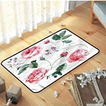 Carpet, for Home Decorate Decor Mats Catches Dirt Dust Snow & Mud, Flower Vintage Watercolor Roses - W23 x L35