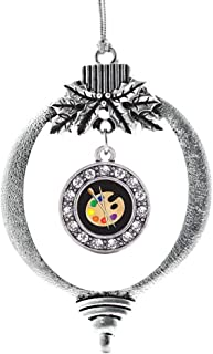 Inspired Silver - The Artist Charm Ornament - Silver Circle Charm Holiday Ornaments with Cubic Zirconia Jewelry