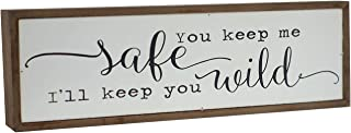 Parisloft You Keep Me Safe I Will Keep You Wild Wood Block Signs, Freestanding Wood Home Decorations for Living Room