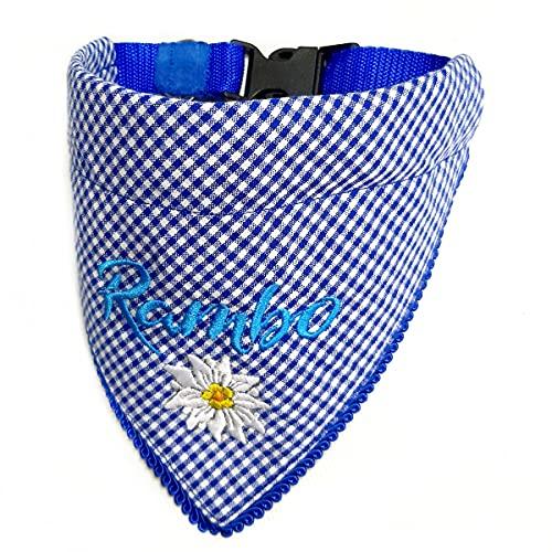 Hundehalstuch mit Halsband Trachten Jäger Bayern Style optional mit Wunsch Namen bestickt Karo Blau Halstuch Tuch