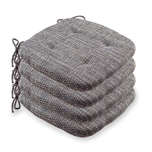etérea 4er Sitzkissen Bodenkissen Stuhlkissen, 40x40 cm Levio – bequem und gepolstert für Indoor & Outdoor, geeignet für Stühle & Bänke. Made in Germany Sitzpolster in der Farbe: Graphit