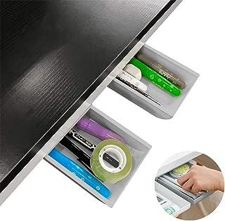 Under Desk Storage Desk Drawers Organizer 2Pack Self-Adhesive Hidden Desktop Pencil Drawer Tray for Home Office Desk/Schoo...