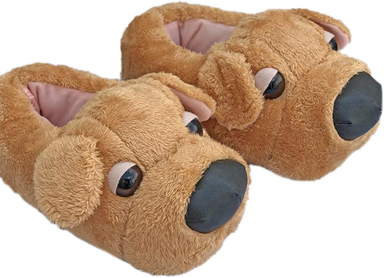 Nafanio Cute Cartoon Dog Boots Unisex Winter Indoor Slippers Cotton Women Men Slip On Lazy Home Couple Floor shoes
