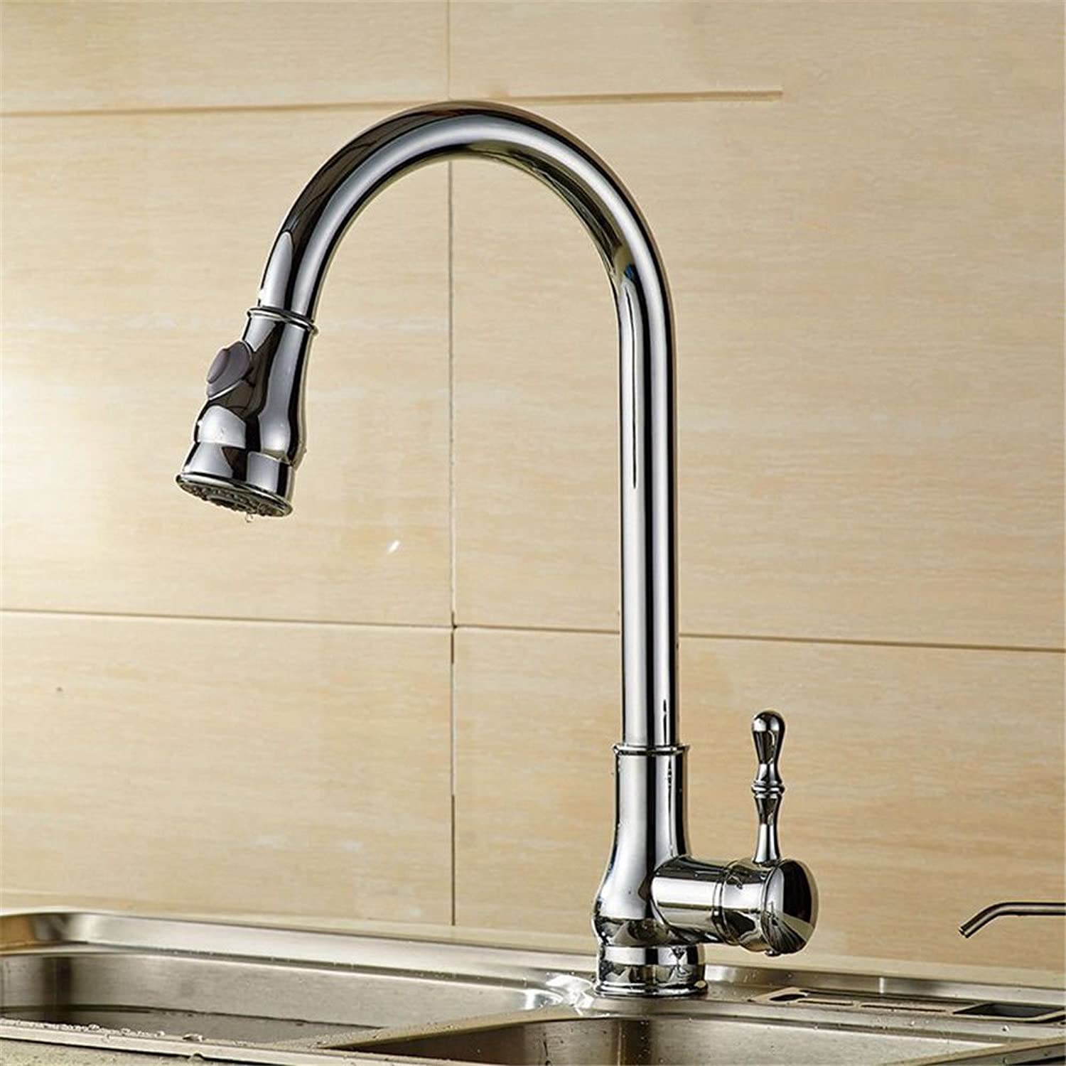 ETERNAL QUALITY Bathroom Sink Basin Tap Brass Mixer Tap Washroom Mixer Faucet The copper kitchen faucet hot and cold water mixing valve pull the tap to redate the telesco