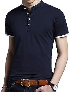 [キャプテン・ケイ] カジュアル バンドカラー シャツ 半袖 5カラー M~3XL メンズ