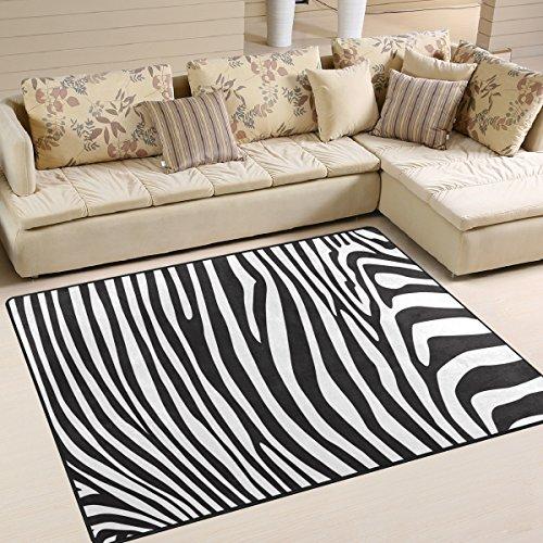 Use7 - Alfombra para salón, dormitorio, diseño de cebra, color negro y blanco, tela, Varios Colores, 160cm x 122cm(5.3 x 4 feet)