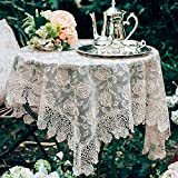 ARTABLE Rectangle Small Table Cloth Lace Macrame Vintage Tablecloth Shabby Chic Embroidered Oblong Table Cover for Wedding Banquet Holiday Long Dinner Tables (Golden, 33' x 33')