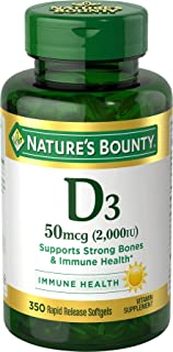 Vitamin D3 by Nature's Bounty, Supports Immune Health & Bone Health, 2000IU per Serving, 350...